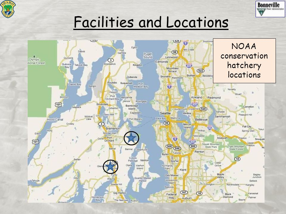 Facilities and Locations NOAA conservation hatchery locations