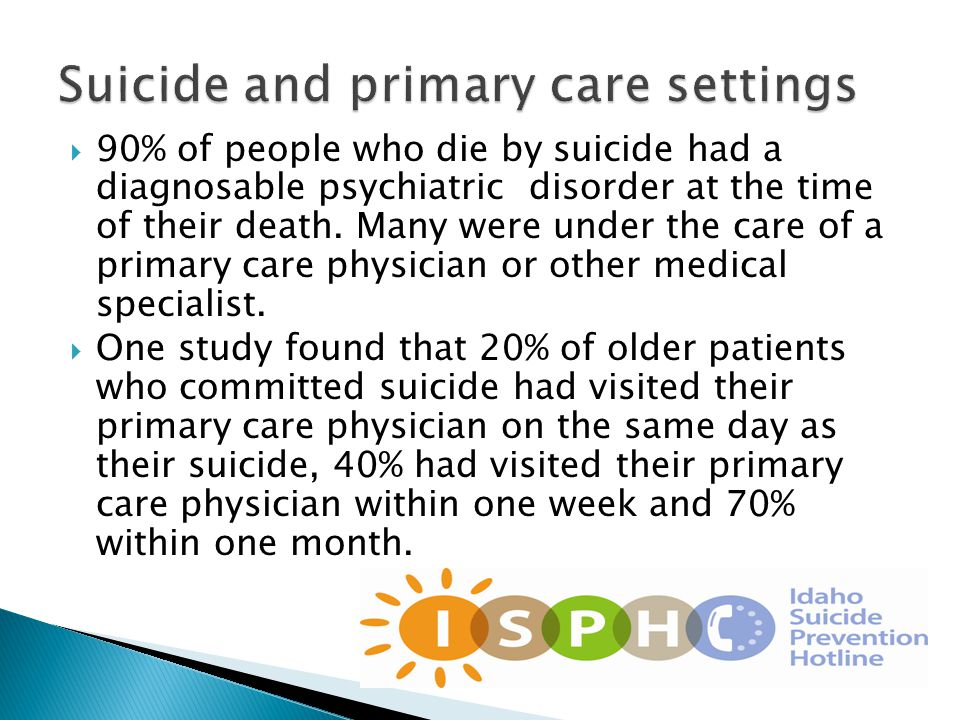  90% of people who die by suicide had a diagnosable psychiatric disorder at the time of their death.