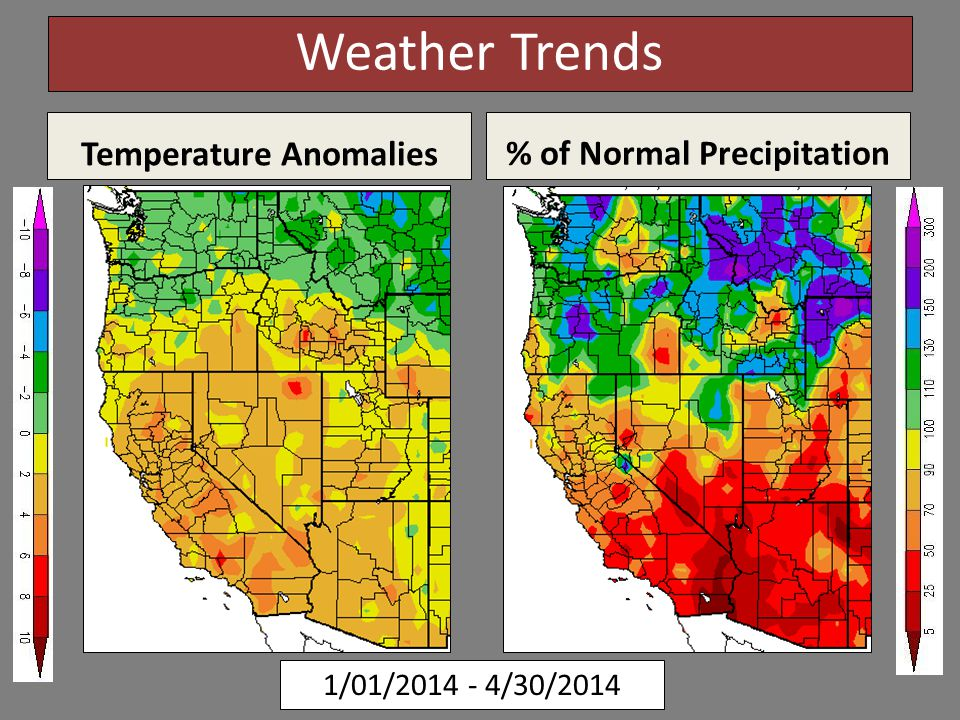 1/01/2014 - 4/30/2014 Weather Trends Temperature Anomalies % of Normal Precipitation