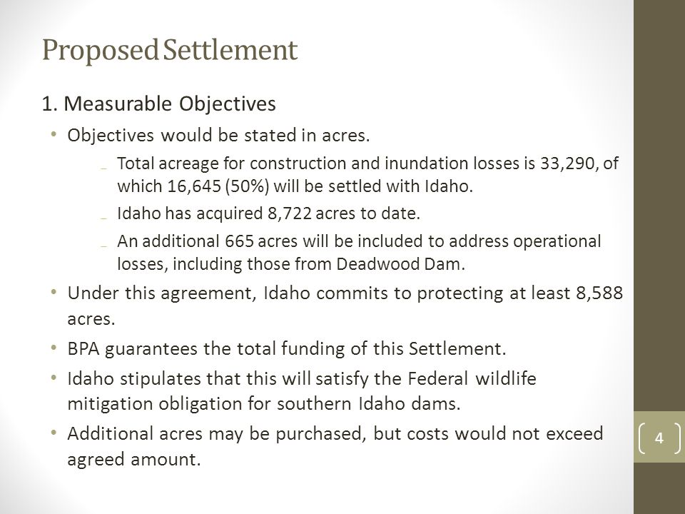 Proposed Settlement 2.