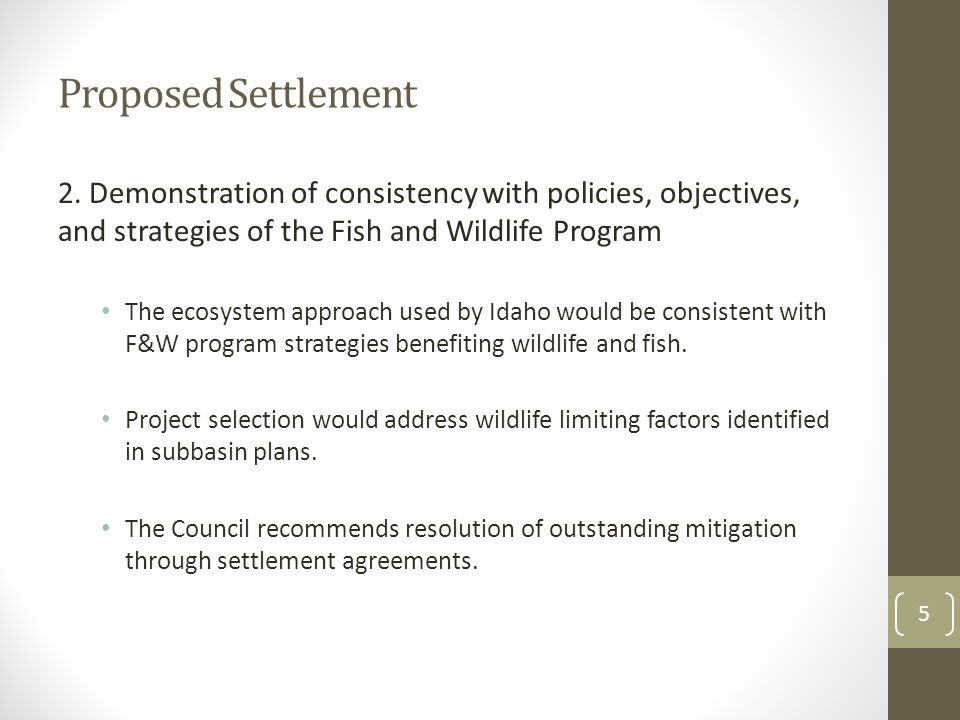 Proposed Settlement 3.