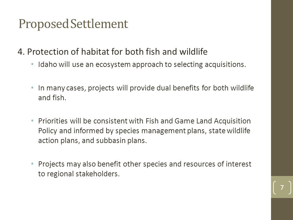 Proposed Settlement 5.