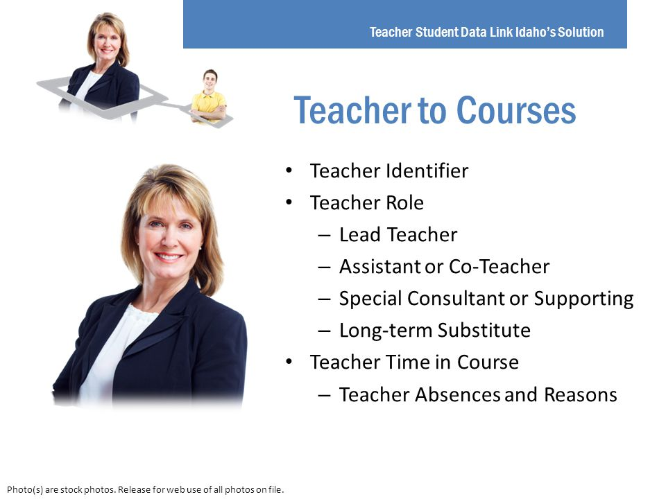 Teacher Identifier Teacher Role – Lead Teacher – Assistant or Co-Teacher – Special Consultant or Supporting – Long-term Substitute Teacher Time in Course – Teacher Absences and Reasons Teacher Student Data Link Idaho's Solution Teacher to Courses Photo(s) are stock photos.