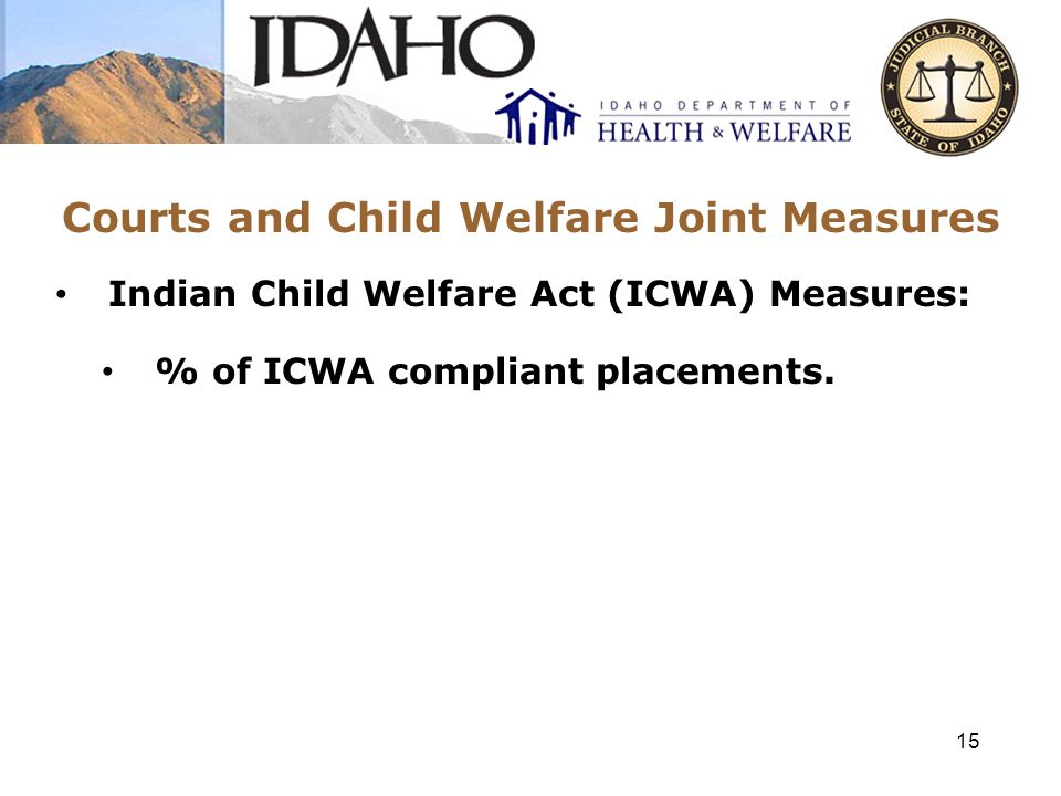 Courts and Child Welfare Joint Measures Indian Child Welfare Act (ICWA) Measures: % of ICWA compliant placements. 15
