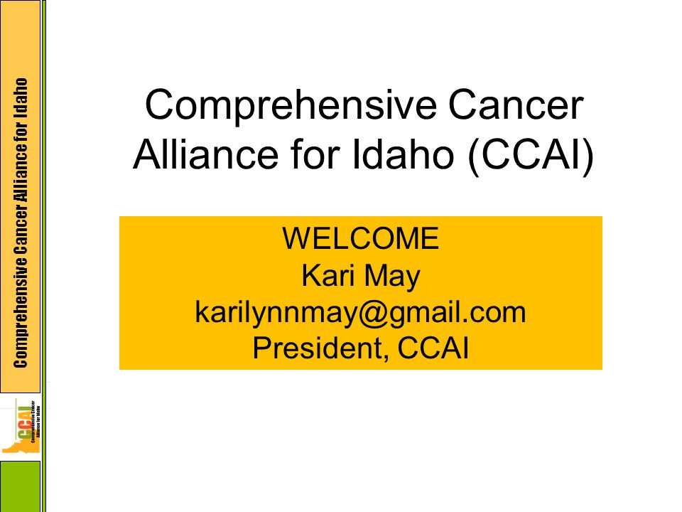 Comprehensive Cancer Alliance for Idaho Comprehensive Cancer Alliance for Idaho (CCAI) WELCOME Kari May karilynnmay@gmail.com President, CCAI
