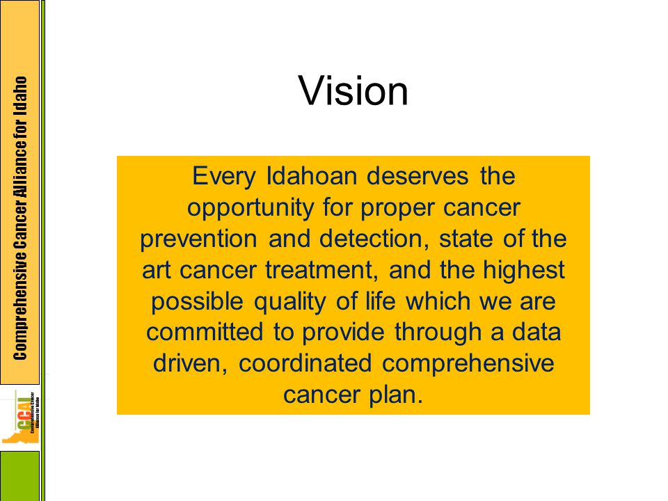 Comprehensive Cancer Alliance for Idaho Vision Every Idahoan deserves the opportunity for proper cancer prevention and detection, state of the art cancer treatment, and the highest possible quality of life which we are committed to provide through a data driven, coordinated comprehensive cancer plan.