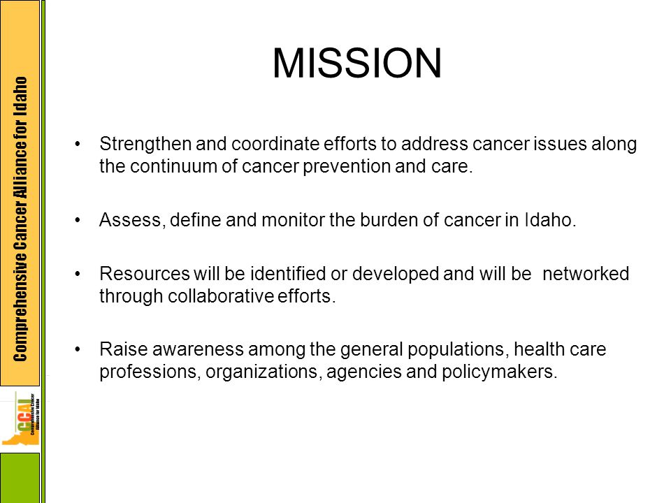 Comprehensive Cancer Alliance for Idaho MISSION Strengthen and coordinate efforts to address cancer issues along the continuum of cancer prevention and care.