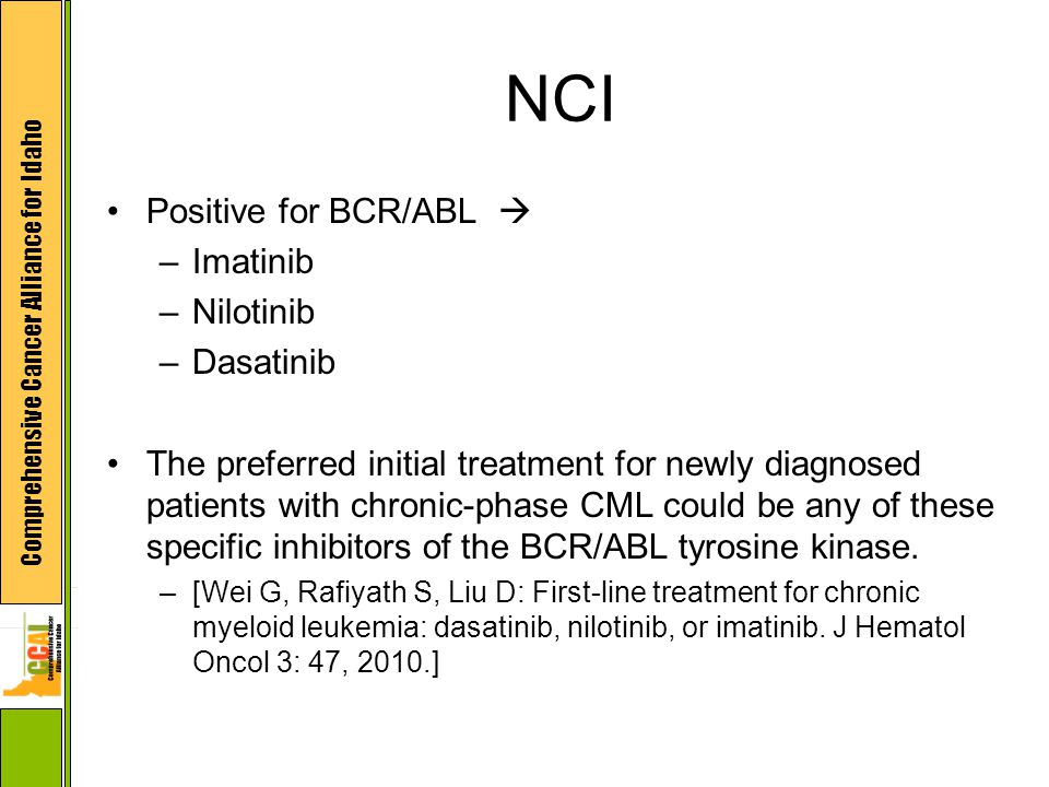 NCI Positive for BCR/ABL  –Imatinib –Nilotinib –Dasatinib The preferred initial treatment for newly diagnosed patients with chronic-phase CML could be any of these specific inhibitors of the BCR/ABL tyrosine kinase.