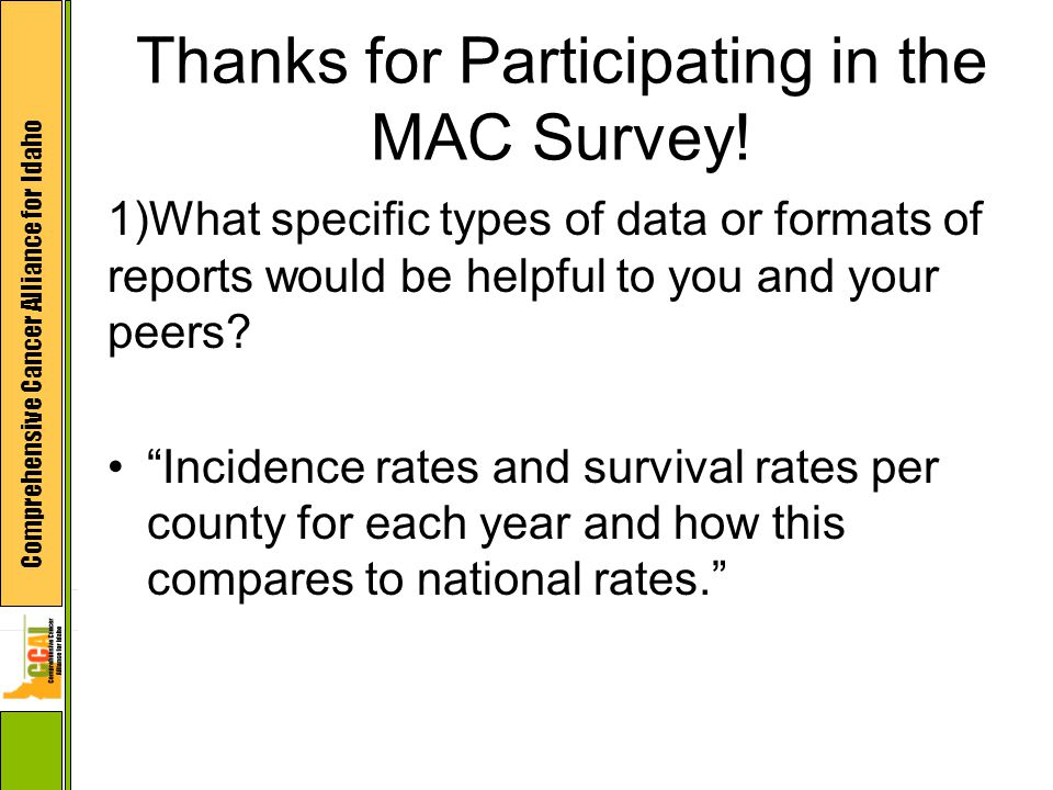 Comprehensive Cancer Alliance for Idaho Thanks for Participating in the MAC Survey.