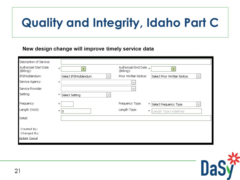 Quality and Integrity, Idaho Part C 21 New design change will improve timely service data