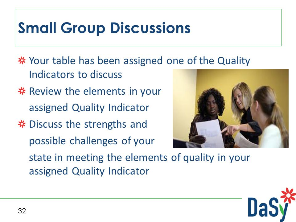 Your table has been assigned one of the Quality Indicators to discuss Review the elements in your assigned Quality Indicator Discuss the strengths and possible challenges of your state in meeting the elements of quality in your assigned Quality Indicator Small Group Discussions 32