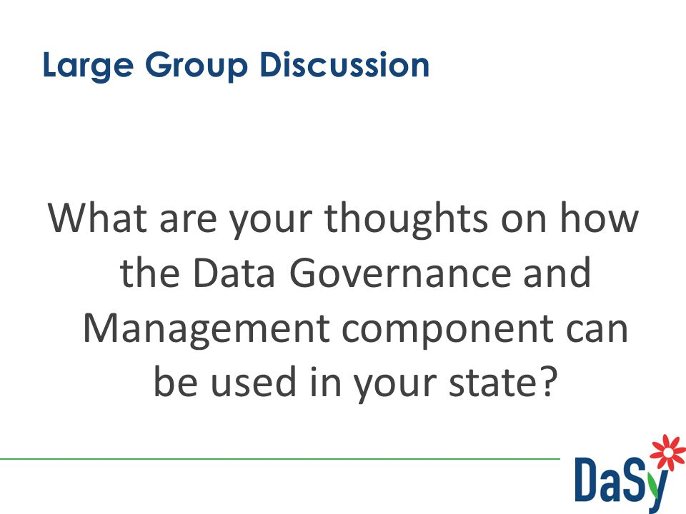 Large Group Discussion What are your thoughts on how the Data Governance and Management component can be used in your state