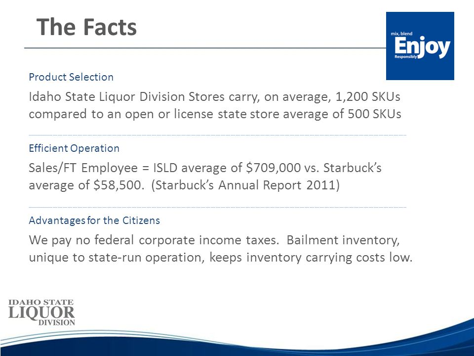 The Facts Product Selection Idaho State Liquor Division Stores carry, on average, 1,200 SKUs compared to an open or license state store average of 500