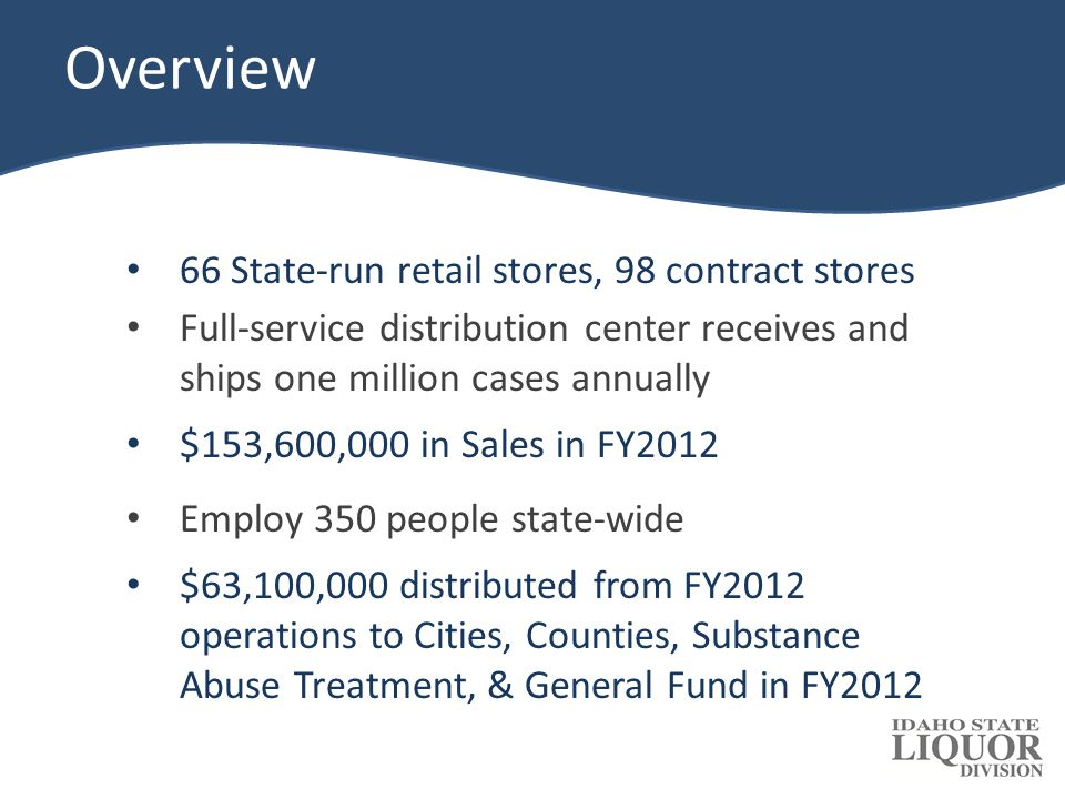 Idaho Statute: Title 23 – Chapter 4 2% surcharge on all sales goes to drug and family courts Amount of remaining distribution is determined based on available cash and working capital needs: – In FY2012, 46% to State: $5.65 million to state fixed-fund accounts Remainder to general fund – In FY2012, 54% to Cities & Counties 60% allocated to cities based on sales (90% to cities with liquor stores, 10% to cities without liquor stores) 40% allocated to counties based on sales