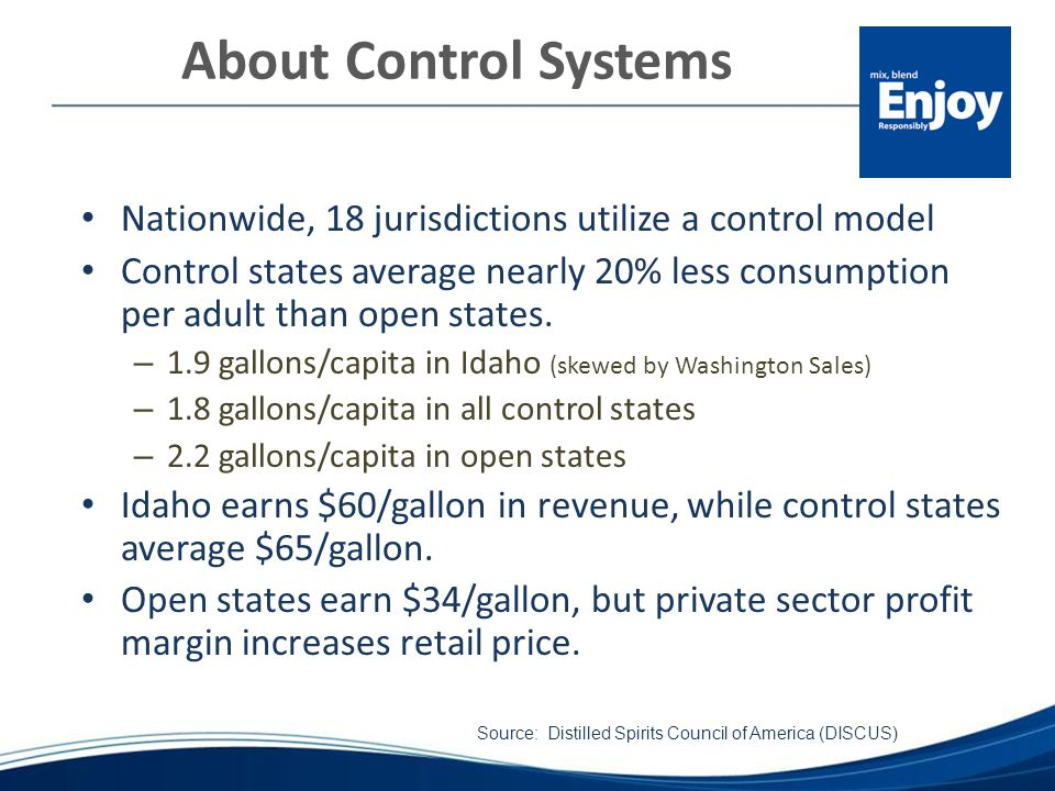 About Control Systems Nationwide, 18 jurisdictions utilize a control model Control states average nearly 20% less consumption per adult than open states.