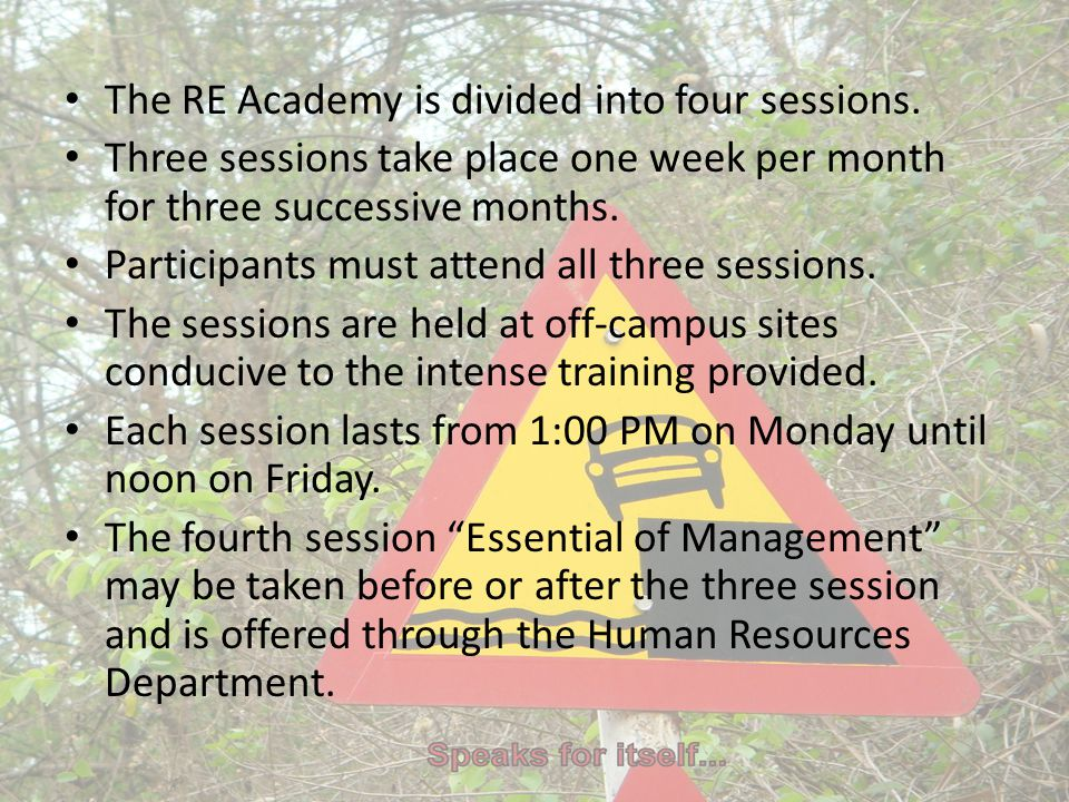 The RE Academy is divided into four sessions. Three sessions take place one week per month for three successive months. Participants must attend all t