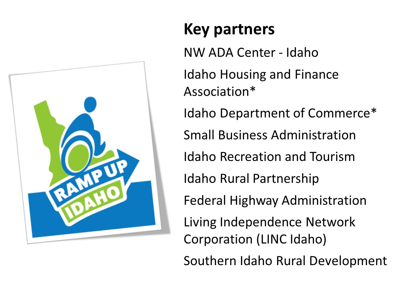 Key partners NW ADA Center - Idaho Idaho Housing and Finance Association* Idaho Department of Commerce* Small Business Administration Idaho Recreation and Tourism Idaho Rural Partnership Federal Highway Administration Living Independence Network Corporation (LINC Idaho) Southern Idaho Rural Development