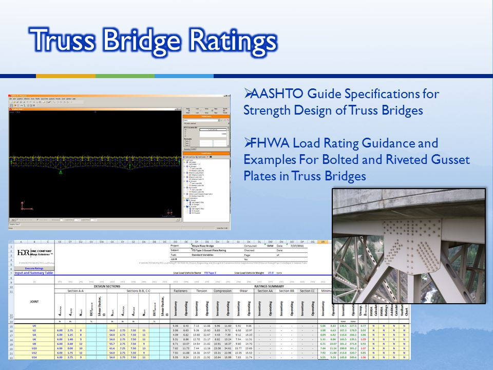  AASHTO Guide Specifications for Strength Design of Truss Bridges  FHWA Load Rating Guidance and Examples For Bolted and Riveted Gusset Plates in Tr