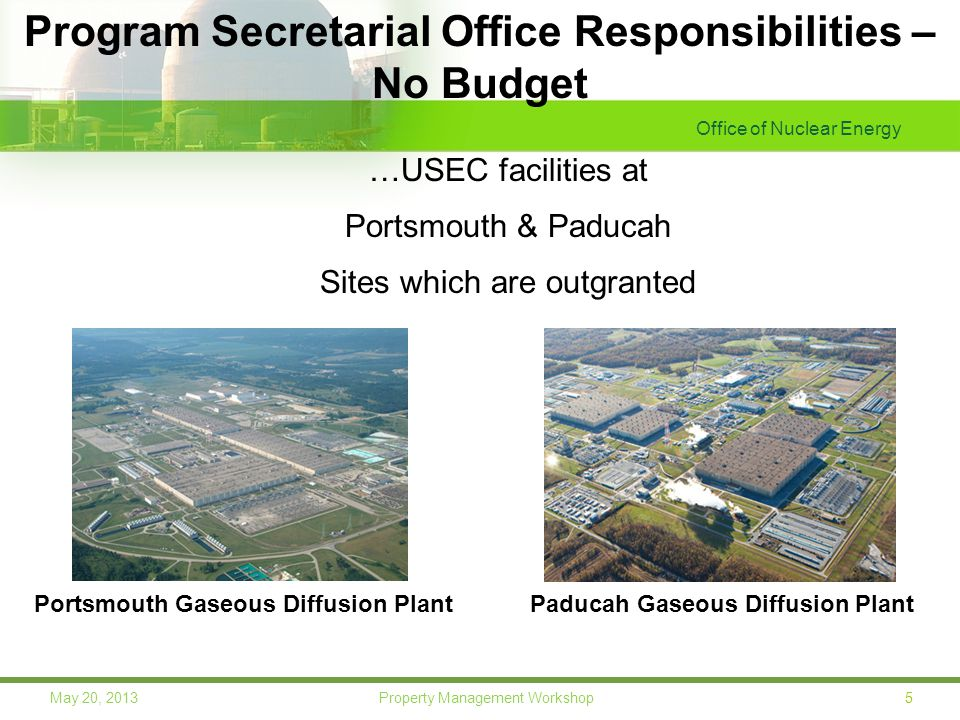 Office of Nuclear Energy 5May 20, 2013 Property Management Workshop Program Secretarial Office Responsibilities – No Budget Paducah Gaseous Diffusion PlantPortsmouth Gaseous Diffusion Plant …USEC facilities at Portsmouth & Paducah Sites which are outgranted