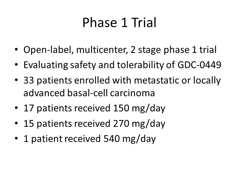 Phase 1 Trial Open-label, multicenter, 2 stage phase 1 trial Evaluating safety and tolerability of GDC-0449 33 patients enrolled with metastatic or locally advanced basal-cell carcinoma 17 patients received 150 mg/day 15 patients received 270 mg/day 1 patient received 540 mg/day