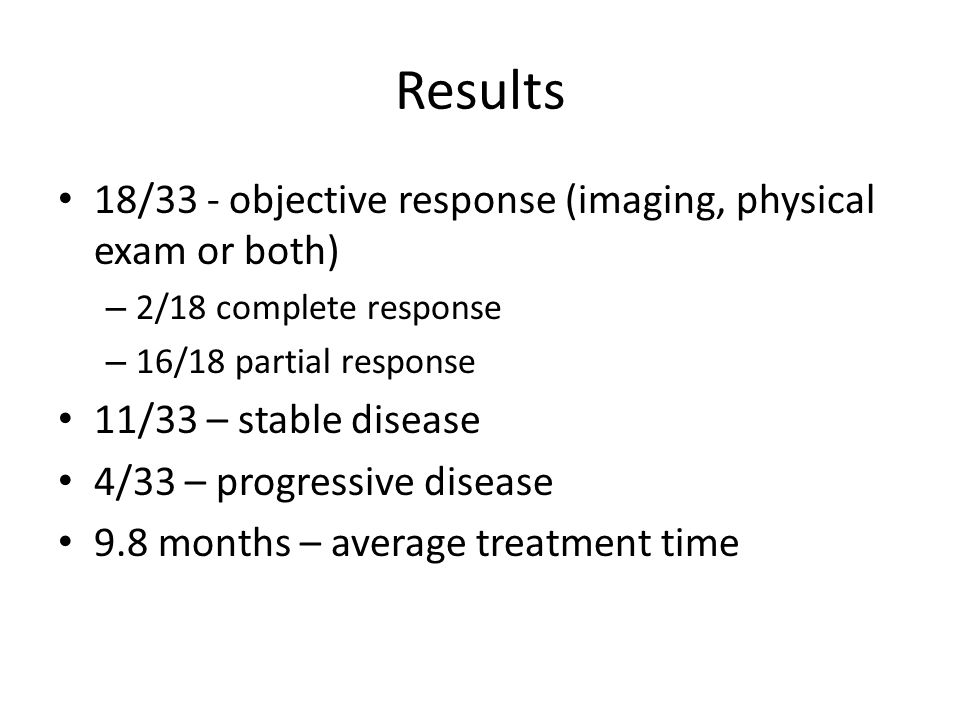18/33 - objective response (imaging, physical exam or both) – 2/18 complete response – 16/18 partial response 11/33 – stable disease 4/33 – progressive disease 9.8 months – average treatment time