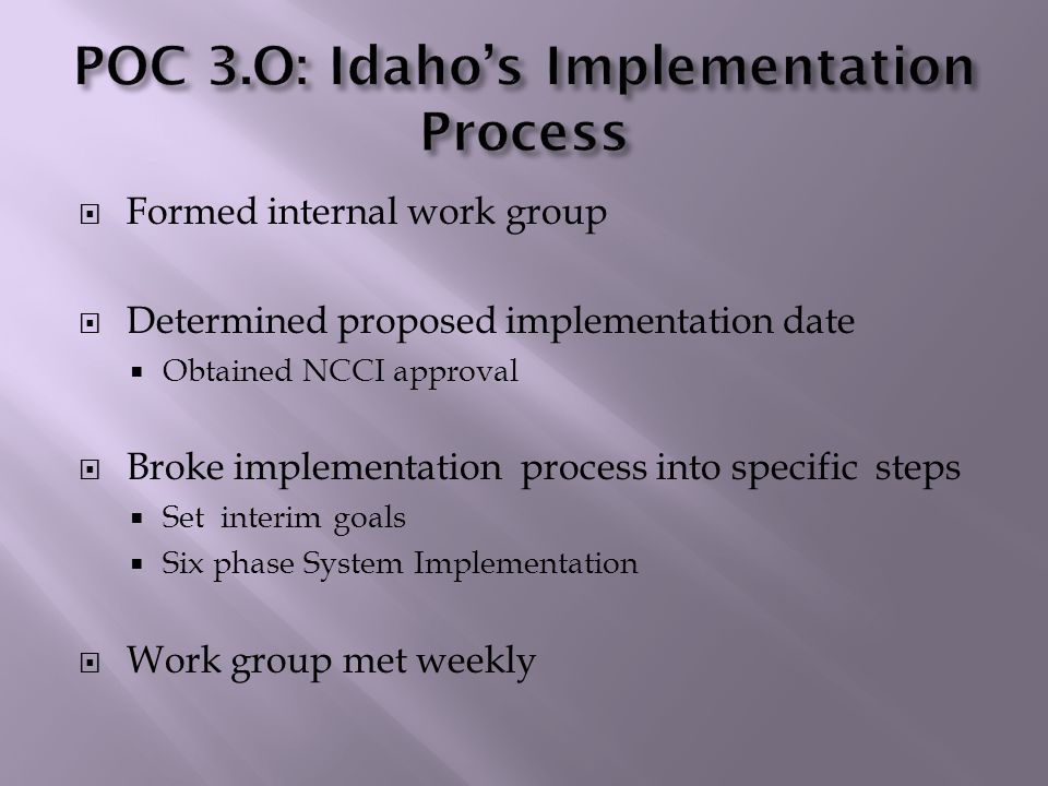  Notified stakeholders of implementation date  Email and written communications to carrier community  NCCI Circular  Updated website  Conference calls with NCCI and IAIABC Implementation Committee  Testing  Launch POC 3.0