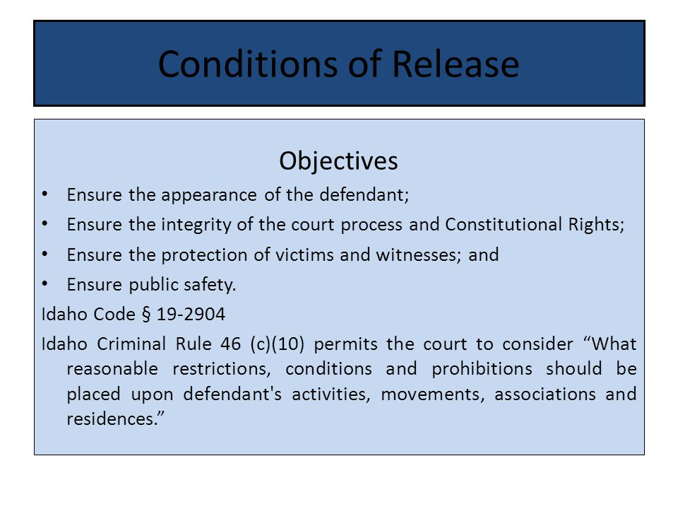 Conditions of Release Objectives Ensure the appearance of the defendant; Ensure the integrity of the court process and Constitutional Rights; Ensure the protection of victims and witnesses; and Ensure public safety.