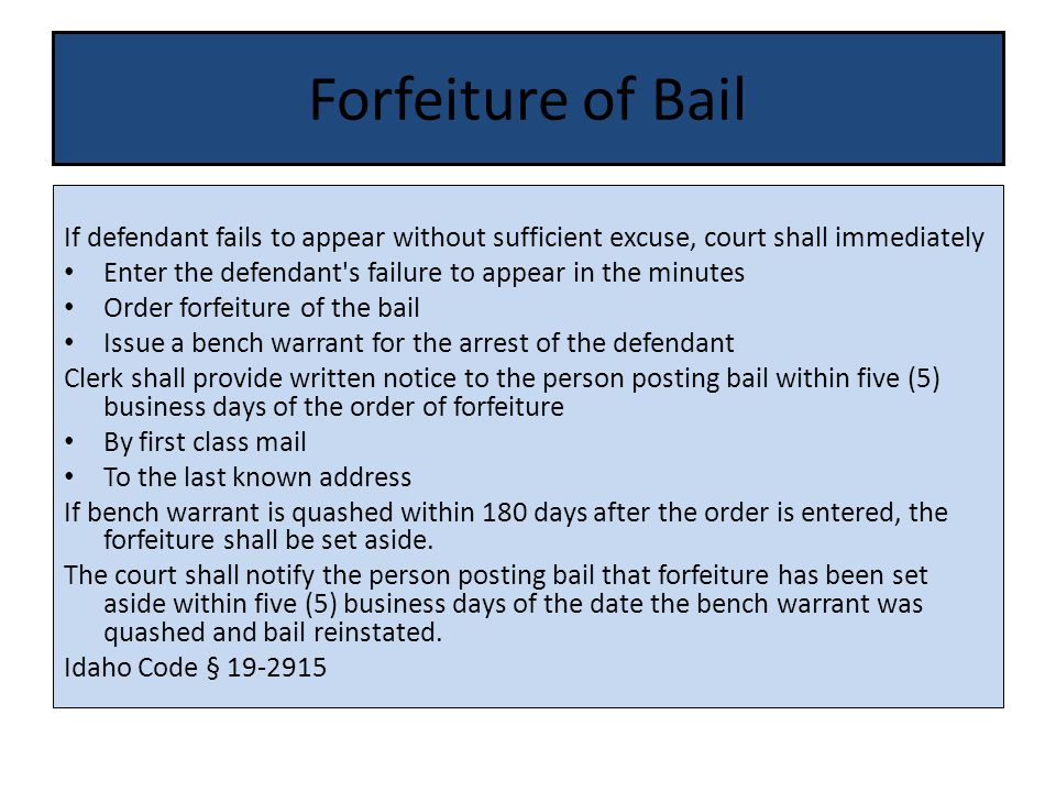 Forfeiture of Bail If defendant fails to appear without sufficient excuse, court shall immediately Enter the defendant s failure to appear in the minutes Order forfeiture of the bail Issue a bench warrant for the arrest of the defendant Clerk shall provide written notice to the person posting bail within five (5) business days of the order of forfeiture By first class mail To the last known address If bench warrant is quashed within 180 days after the order is entered, the forfeiture shall be set aside.