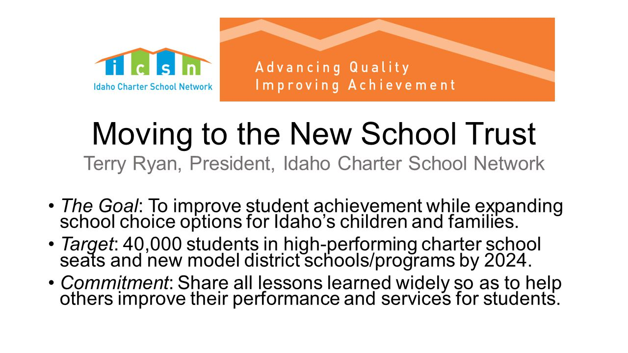 Moving to the New School Trust Terry Ryan, President, Idaho Charter School Network The Goal: To improve student achievement while expanding school choice options for Idaho's children and families.