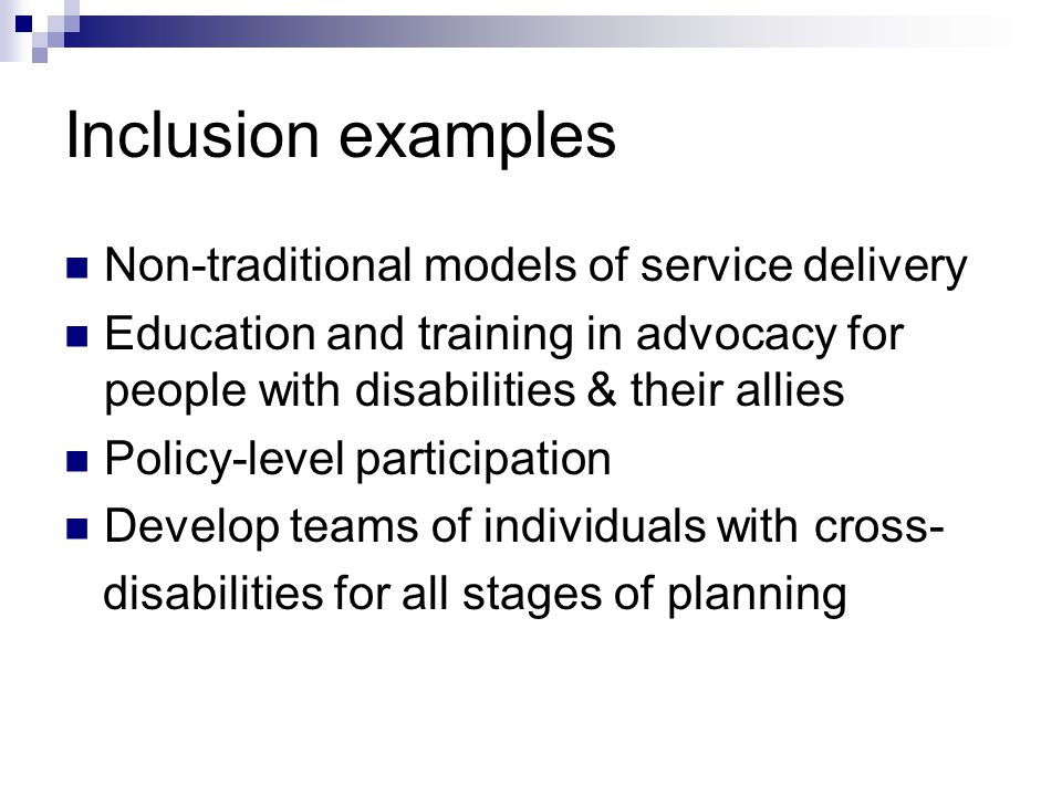 Inclusion examples Non-traditional models of service delivery Education and training in advocacy for people with disabilities & their allies Policy-level participation Develop teams of individuals with cross- disabilities for all stages of planning