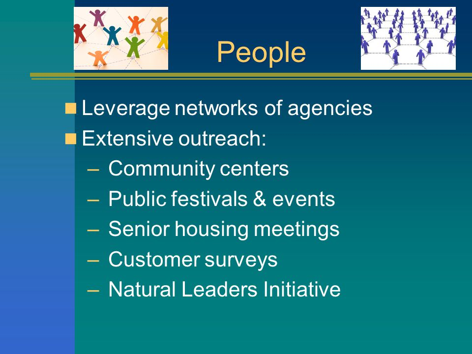 People Leverage networks of agencies Extensive outreach: – Community centers – Public festivals & events – Senior housing meetings – Customer surveys – Natural Leaders Initiative