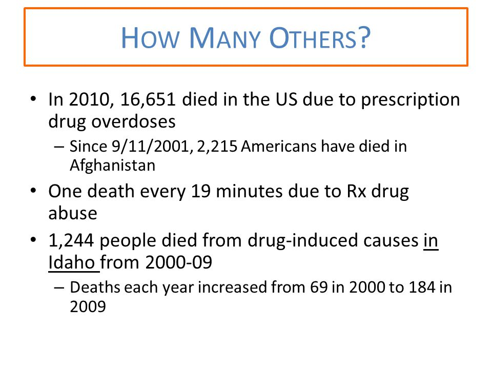 In 2010, 16,651 died in the US due to prescription drug overdoses – Since 9/11/2001, 2,215 Americans have died in Afghanistan One death every 19 minutes due to Rx drug abuse 1,244 people died from drug-induced causes in Idaho from 2000-09 – Deaths each year increased from 69 in 2000 to 184 in 2009 H OW M ANY O THERS ?