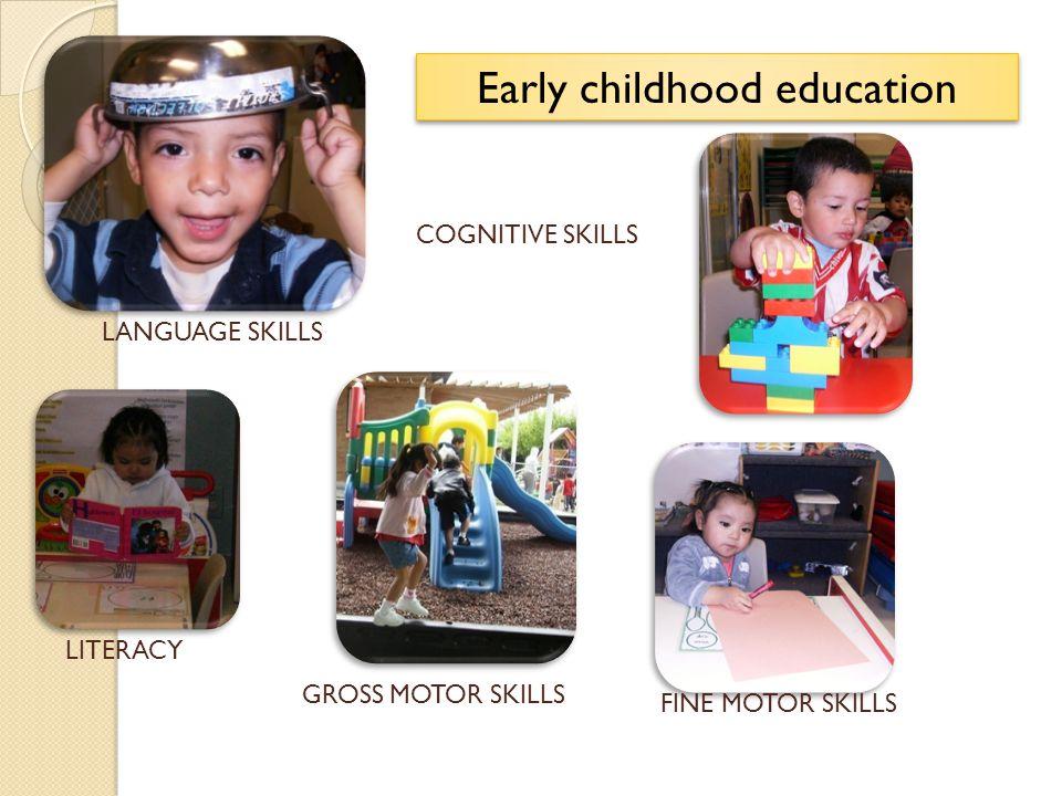 LANGUAGE SKILLS COGNITIVE SKILLS LITERACY GROSS MOTOR SKILLS Early childhood education FINE MOTOR SKILLS