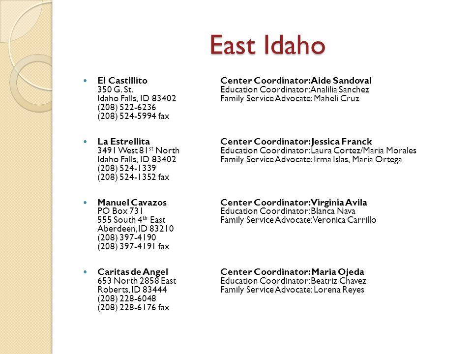 East Idaho El CastillitoCenter Coordinator: Aide Sandoval 350 G. St. Education Coordinator: Analilia Sanchez Idaho Falls, ID 83402 Family Service Advo