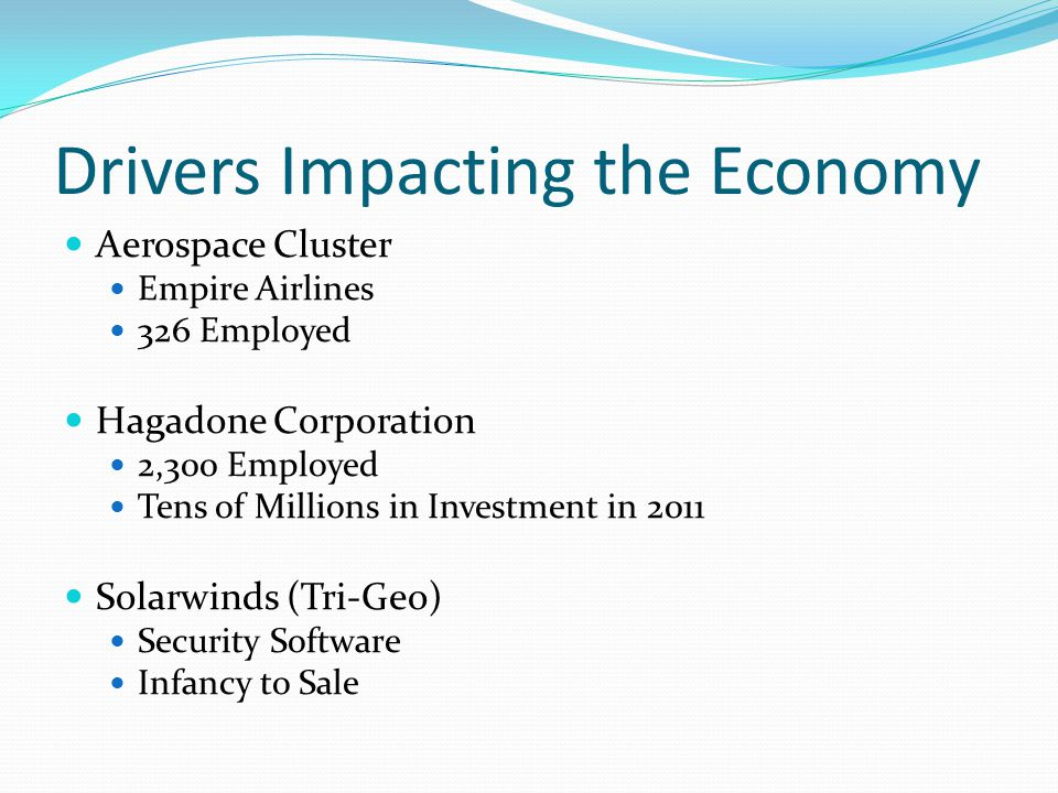 Drivers Impacting the Economy Aerospace Cluster Empire Airlines 326 Employed Hagadone Corporation 2,300 Employed Tens of Millions in Investment in 2011 Solarwinds (Tri-Geo) Security Software Infancy to Sale