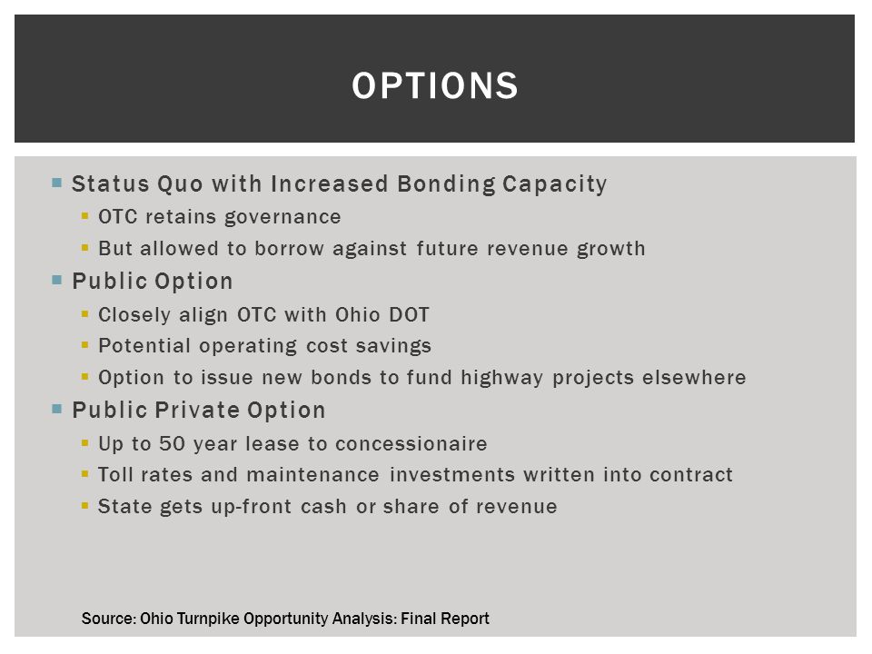 ASSUMED TOLL RATES Source: Ohio Turnpike Opportunity Analysis: Final Report