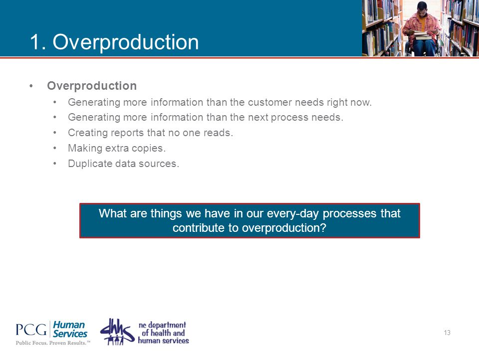 1. Overproduction Overproduction Generating more information than the customer needs right now. Generating more information than the next process need