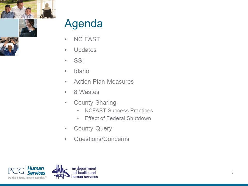 Agenda NC FAST Updates SSI Idaho Action Plan Measures 8 Wastes County Sharing NCFAST Success Practices Effect of Federal Shutdown County Query Questio
