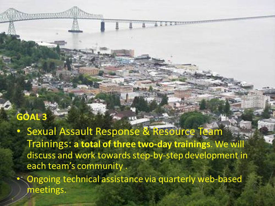 GOAL 3 Sexual Assault Response & Resource Team Trainings: a total of three two-day trainings. We will discuss and work towards step-by-step developmen