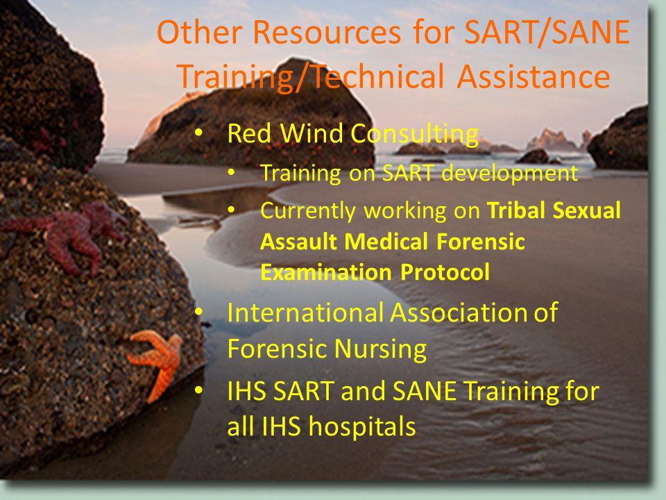 Other Resources for SART/SANE Training/Technical Assistance Red Wind Consulting Training on SART development Currently working on Tribal Sexual Assault Medical Forensic Examination Protocol International Association of Forensic Nursing IHS SART and SANE Training for all IHS hospitals