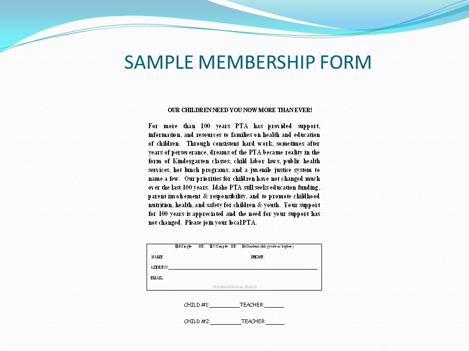 SAMPLE MEMBERSHIP FORM