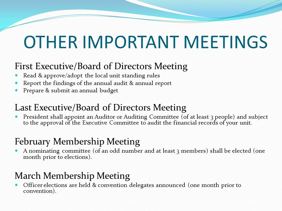 OTHER IMPORTANT MEETINGS First Executive/Board of Directors Meeting Read & approve/adopt the local unit standing rules Report the findings of the annual audit & annual report Prepare & submit an annual budget Last Executive/Board of Directors Meeting President shall appoint an Auditor or Auditing Committee (of at least 3 people) and subject to the approval of the Executive Committee to audit the financial records of your unit.