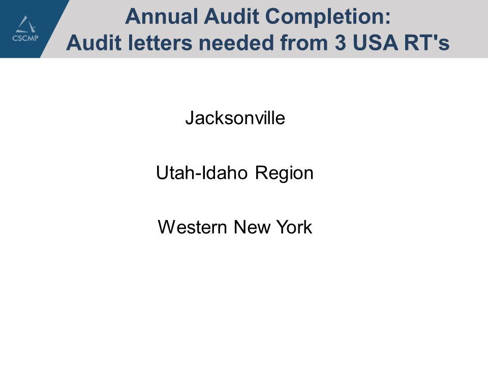 Annual Audit Completion: Audit letters needed from 3 USA RT s Jacksonville Utah-Idaho Region Western New York