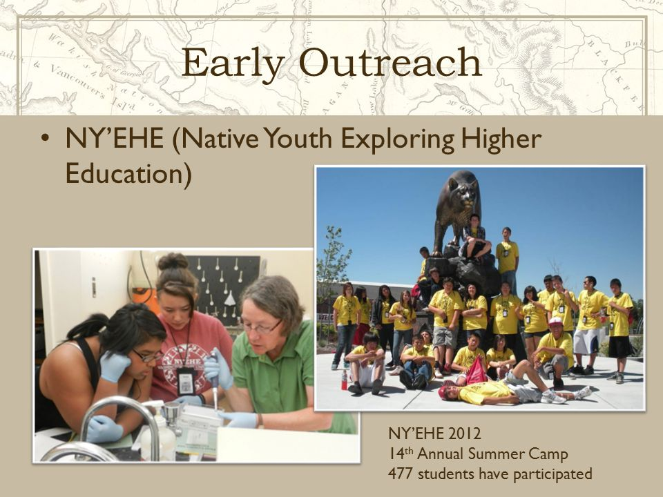 Early Outreach NY'EHE (Native Youth Exploring Higher Education) NY'EHE 2012 14 th Annual Summer Camp 477 students have participated
