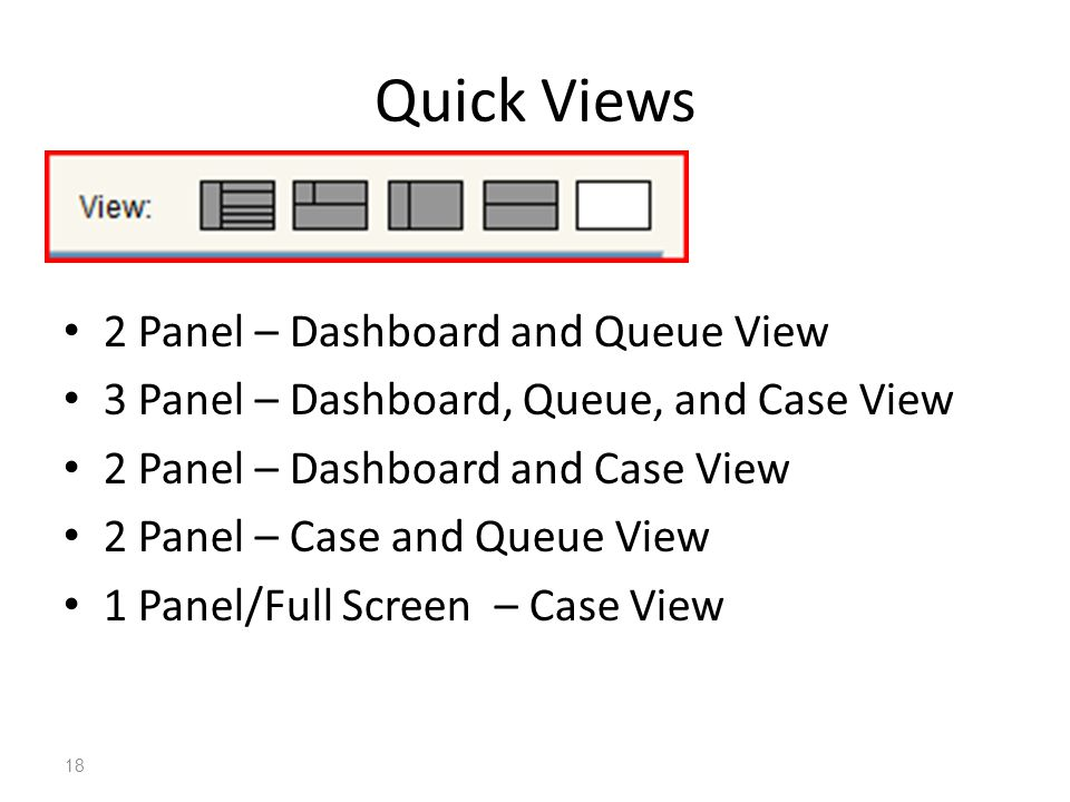 18 Quick Views 2 Panel – Dashboard and Queue View 3 Panel – Dashboard, Queue, and Case View 2 Panel – Dashboard and Case View 2 Panel – Case and Queue View 1 Panel/Full Screen – Case View
