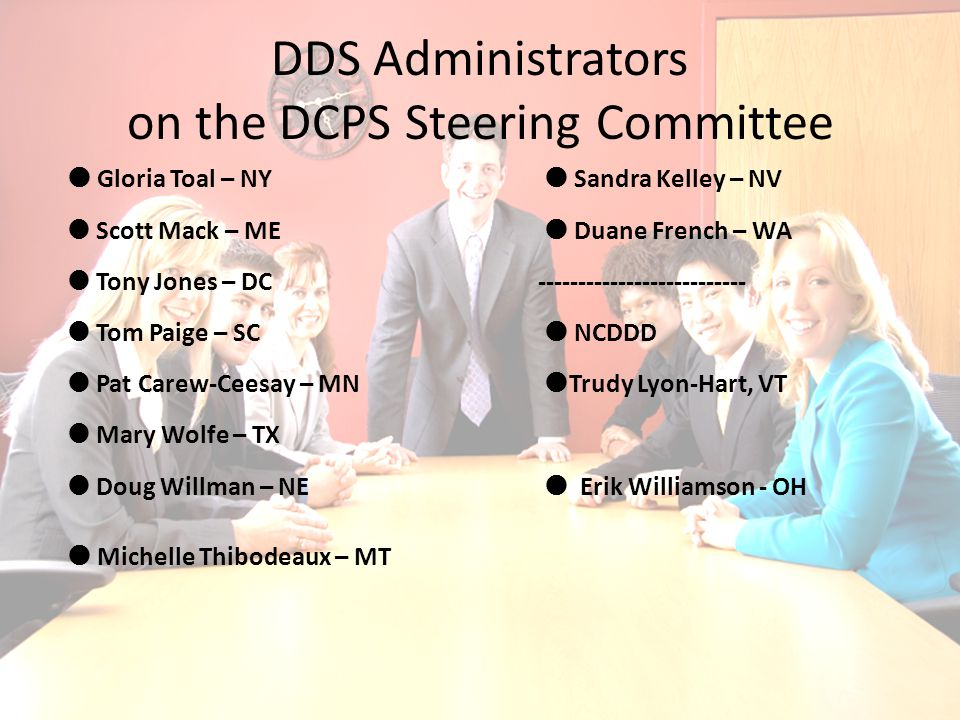 DDS Administrators on the DCPS Steering Committee  Gloria Toal – NY  Sandra Kelley – NV  Scott Mack – ME  Duane French – WA  Tony Jones – DC--------------------------  Tom Paige – SC  NCDDD  Pat Carew-Ceesay – MN  Trudy Lyon-Hart, VT  Mary Wolfe – TX  Doug Willman – NE  Erik Williamson - OH  Michelle Thibodeaux – MT