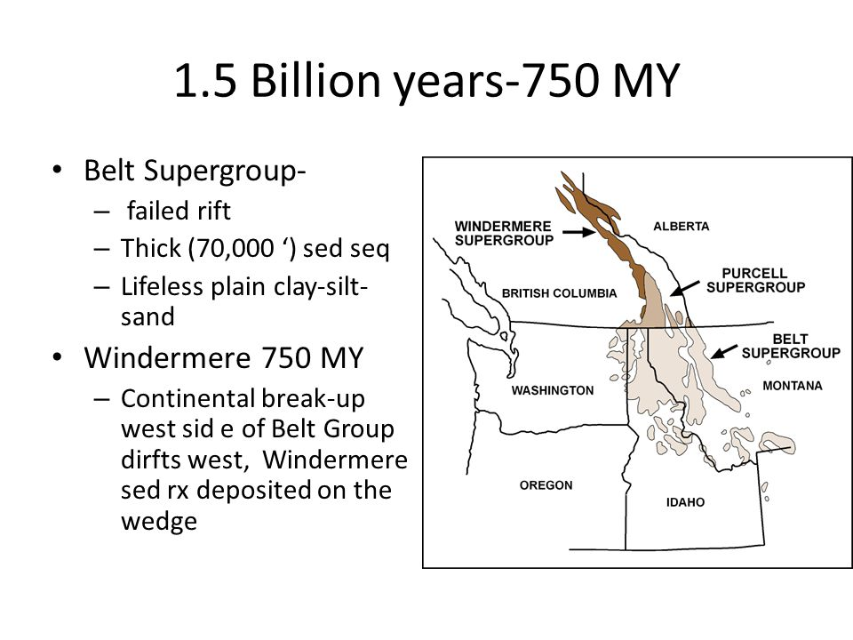 1.5 Billion years-750 MY Belt Supergroup- – failed rift – Thick (70,000 ') sed seq – Lifeless plain clay-silt- sand Windermere 750 MY – Continental break-up west sid e of Belt Group dirfts west, Windermere sed rx deposited on the wedge