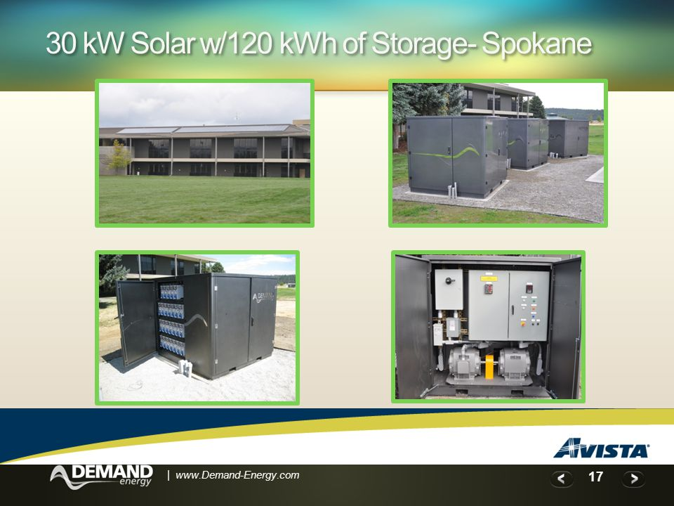 17 | www.Demand-Energy.com 30 kW Solar w/120 kWh of Storage- Spokane