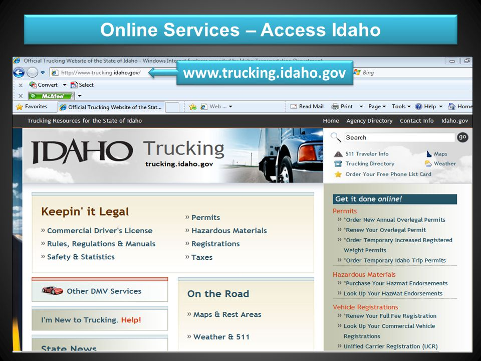Motor Carrier Agenda Full Fee Vehicle Registration (Idaho Only) IRP Vehicle Registration (Int'l Registration Plan) UCR (Unified Carrier Registration) HVUT (Heavy Vehicle Use Tax) USDOT Number & PRISM (Performance & Registration Information Systems Management) Titles Online Services Avoiding Mistakes & Reducing Costs are highlighted throughout the presentation with Full Fee Vehicle Registration (Idaho Only) IRP Vehicle Registration (Int'l Registration Plan) UCR (Unified Carrier Registration) HVUT (Heavy Vehicle Use Tax) USDOT Number & PRISM (Performance & Registration Information Systems Management) Titles Online Services Avoiding Mistakes & Reducing Costs are highlighted throughout the presentation with