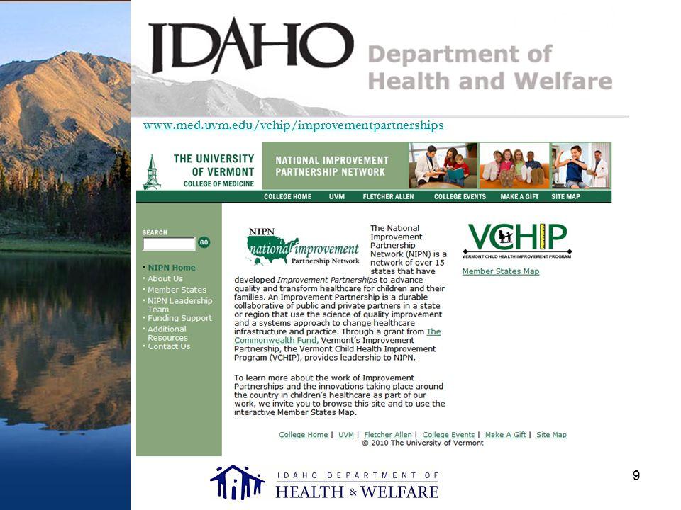 9 www.med.uvm.edu/vchip/improvementpartnerships